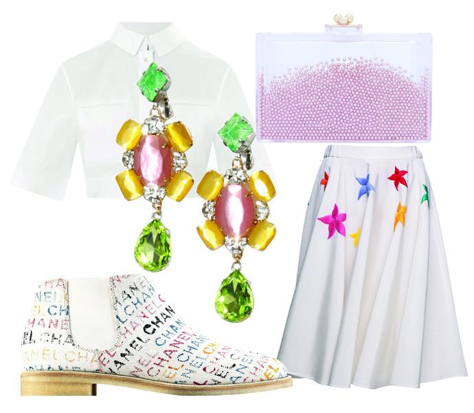 Клатч ashlyn'd, юбка Cyrille Gassiline, ботинки Chanel, серьги Volha, топ Alexander Wang
