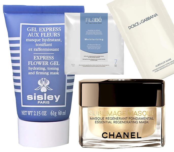 1. Sisley Express Flowe Gel; 2. Filabe Moisturizing SKIN CARE SQUARED; 3. Dolce & Gabbana Aurealux; 4. Chanel Sublimage