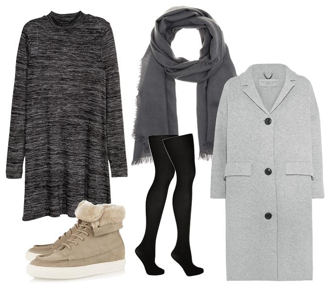 Выбор ELLE: пальто Burberry Brit, кеды Common Projects, шарф Bottega Veneta, колготки DIM