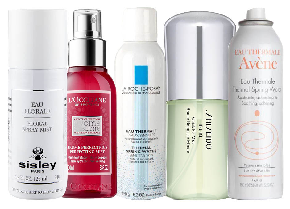 Sisley Floral Water; L'Occitane Pivoine Sublime Flash Hydration; La Roche-Posay Thermal Spring Water; Shiseido Ibuki Quick Fix Mist; Avene Thermal Spring Water
