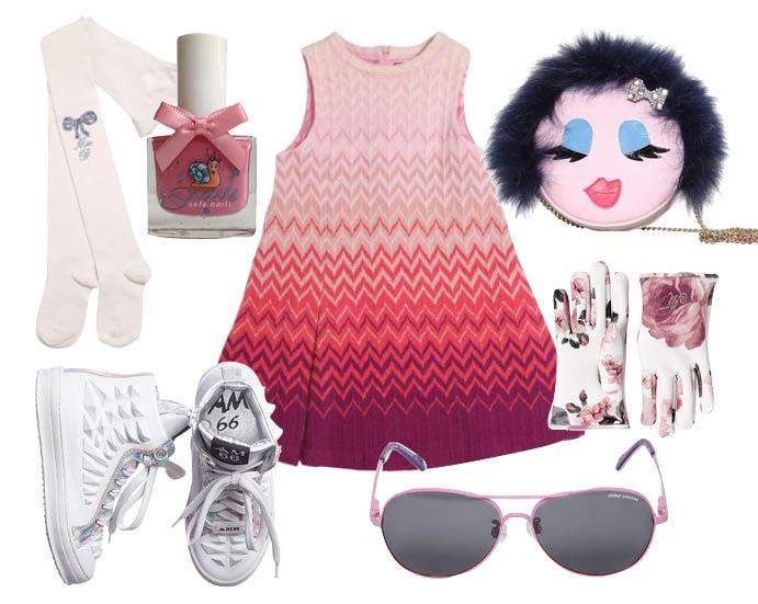 Колготки, Miss Blumarine; смываемый водой лак для ногтей Snails; платье, Missoni; сумка, Simonetta; кеды, AM66; солнцезащитные очки, ZooBug; перчатки, Monnalisa