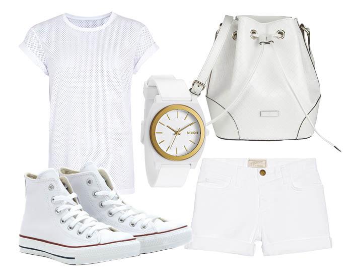 Выбор ELLE: шорты Current/Elliott, топ Asos, сумка Gucci, часы Nixon