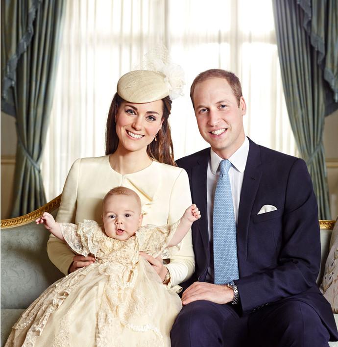 Герцогиня и герцог Кембриджские Кэтрин и Уильям с сыном