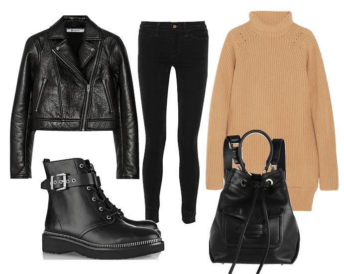 Выбор ELLE: джинсы J Brand, сапоги Michael Kors, кожаная куртка T by Alexander Wang, рюкзак Pierre Hardy