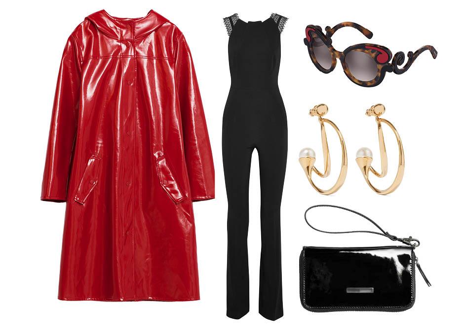 Выбор ELLE: комбинезон Roland Mouret, серьги Chloe, клатч H&M, очки Prada