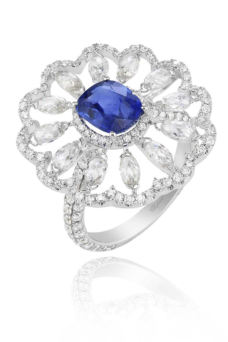 Кольцо Red Carpet, белое золото, бриллианты, сапфир, Chopard