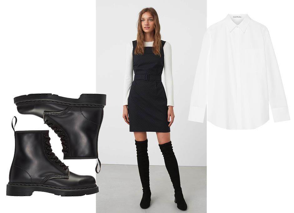 Ботинки Dr Martens, платье и ботфорты Mango, рубашка Acne Studios