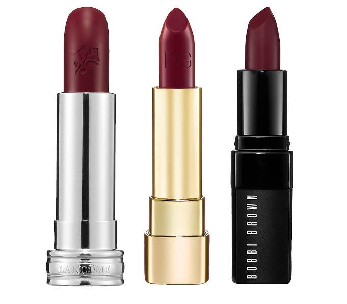 Lancome Rouge in Love в оттенке Fierry Attitude, Dolce&Gabbana в оттенке Dahlia, Bobbi Brown в оттенке Crimson