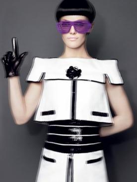 ПОП Платье, Chanel Haute Couture; очки,  Vintage; перчатки, Maison Fabre