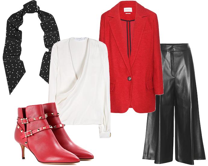 Выбор ELLE: блуза Victoria Beckham, брюки Vika Gazinskaya, пальто Etoile Isabel Marant, ботильоны Valentino