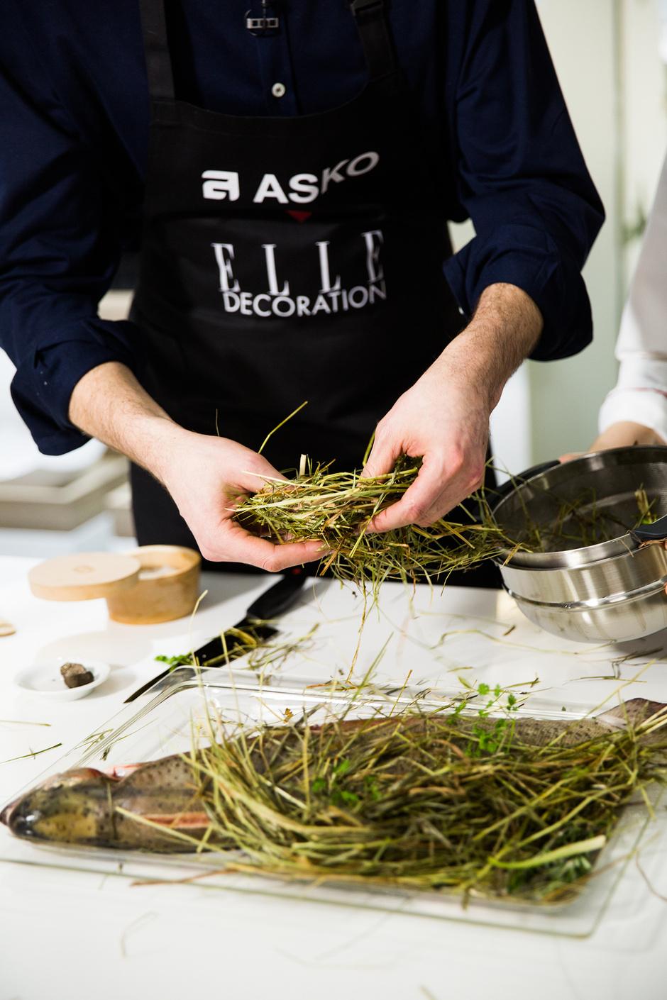 Форель в сене с трюфелем