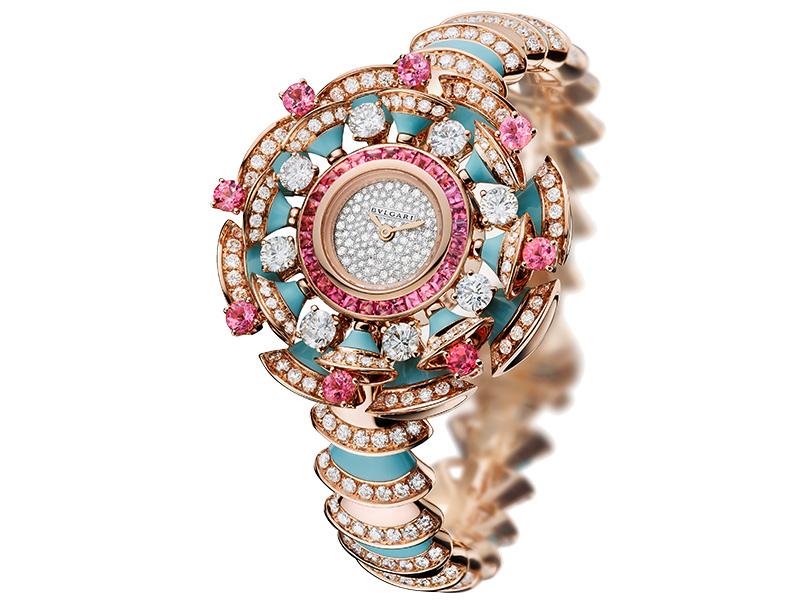 Часы Diva, розовое золото, бриллианты, бирюза, турмалины, Bulgari