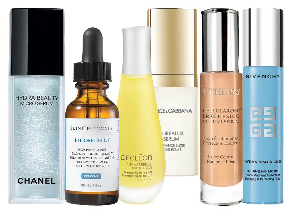 Chanel Hydra Beauty Micro Serum; SkinCeuticals Phloretin CF; Dolce & Gabbana Aurealux Serum; Decleor Hydrating Oil Serum; By Terry Brightening CC Serum; Givenchy Hydra Sparkling Sap-Serum;