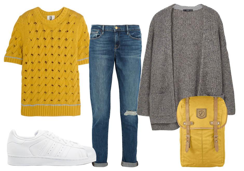Выбор ELLE: джинсы Frame, топ TopShop Unique, кроссовки Adidas Originals, рюкзак Fjallraven