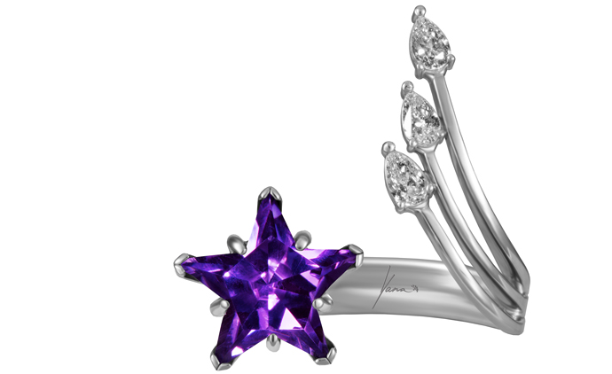 Кольцо, белое золото, бриллианты, аметист, Yana.
