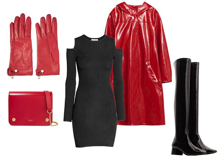Выбор ELLE: ботфорты Mango, платье H&M, перчатки Gucci, сумка Mulberry