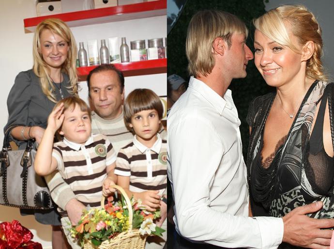 Яна Рудковская с Виктором Батуриным и сыновьями / Яна Рудковская и Евгений Плющенко