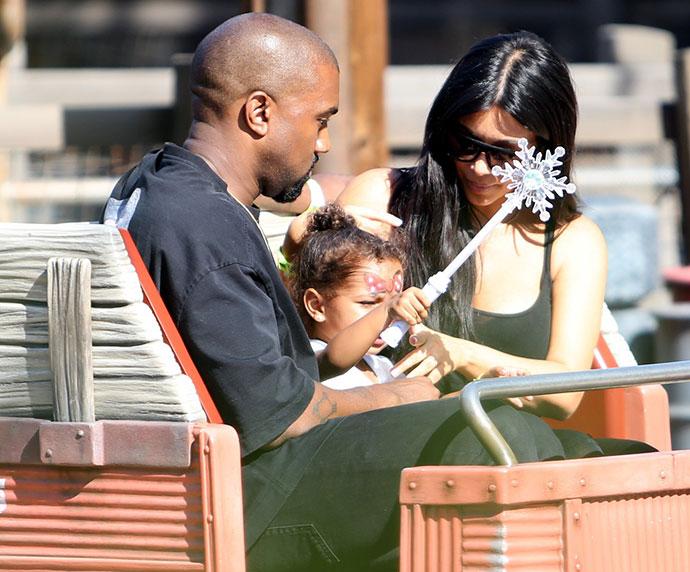 Канье Уэст и Ким Кардашьян с дочерью Норт