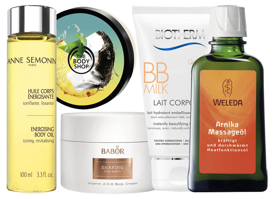 Anne Semonin Energizing Body Oil; The Body Shop Body Butter Pinita Colada; Babor Shaping; Biotherm Lait Corporel BB; Weleda Arnika Massage Oil