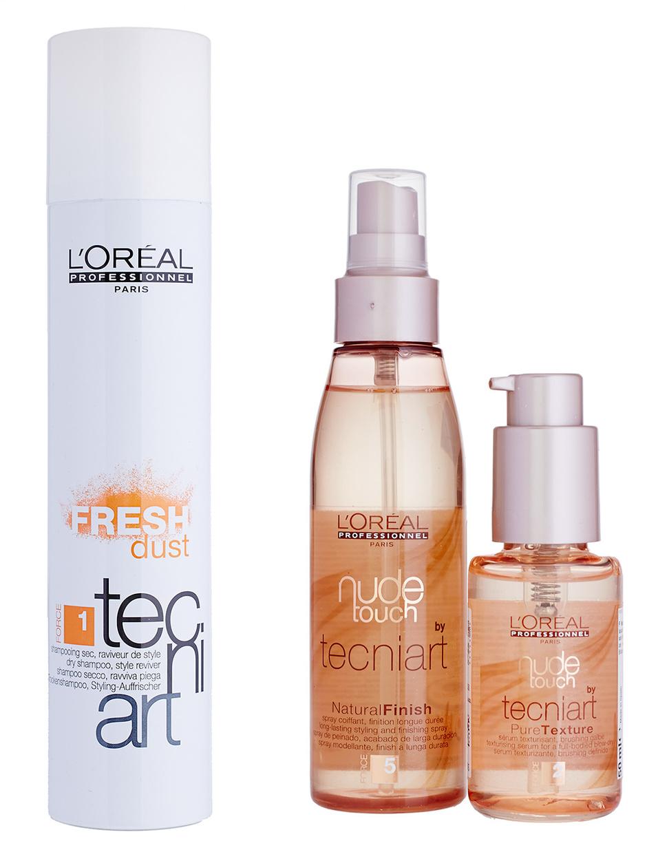 Сухой шампунь Fresh Dust, текстурирующая сыворотка и спрей для фиксации Nude Touch, L'Oreal Professionnel Techni Art