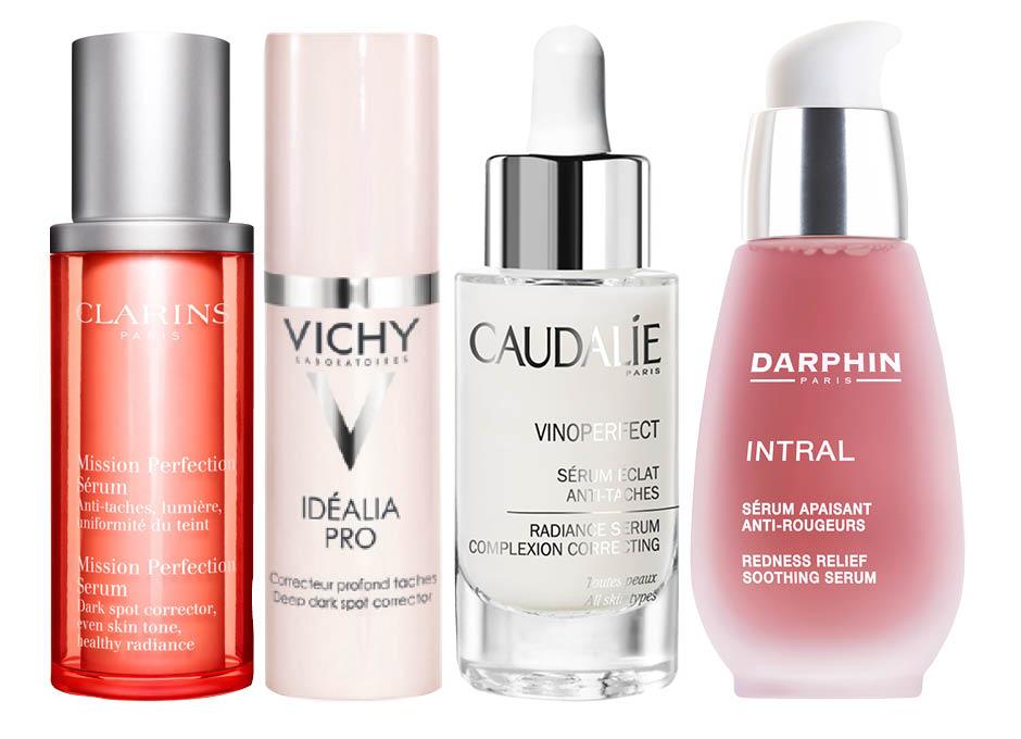 1. Clarins Mission Perfection Serum; 2. Vichy Idealia Pro; 3. Caudalie Vinoperfect Radiance Serum; 4. Darphin Intral Redness Relief Soothing Serum
