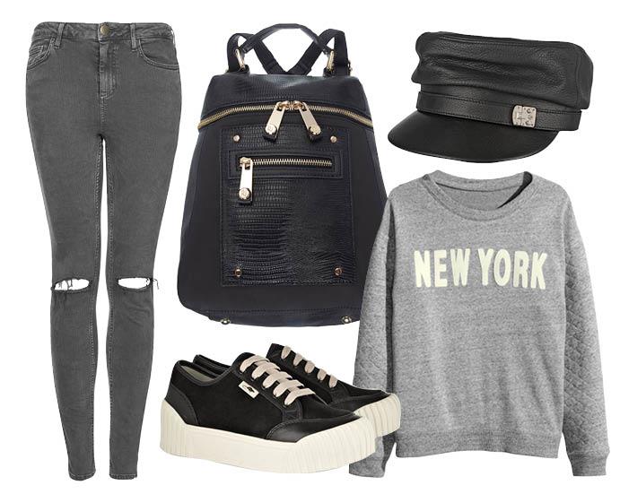 Выбор ELLE: свитер H&M, джинсы-скинни TopShop, кеды Marc by Marc Jacobs, кожаная бейсболка Gucci