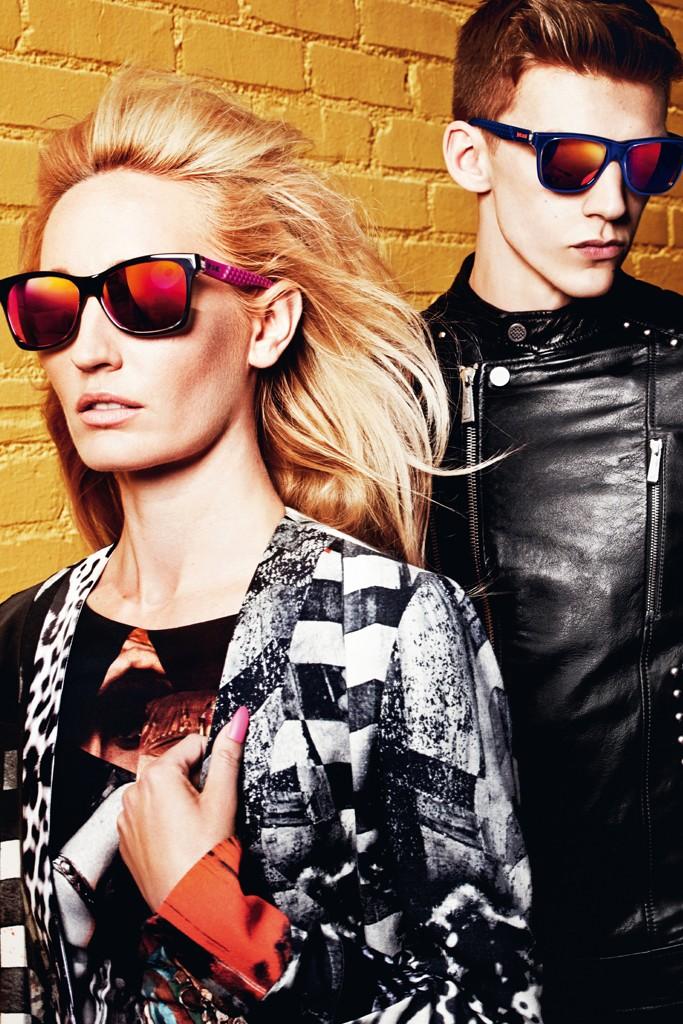 Модные солнцезащитные очки с цветными стеклами
