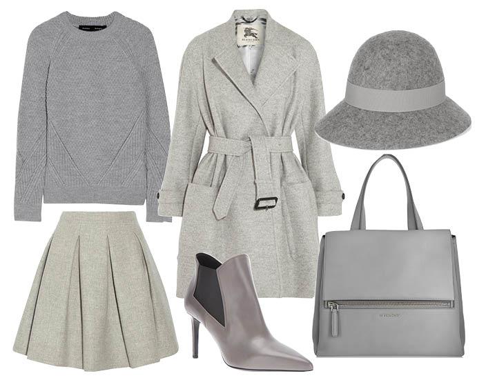 Выбор ELLE: пальто Burberry, юбка Miu Miu, свитер Proenza Schouler, шляпа Stella McCartney, сумка Givenchy, ботильоны Saint Laurent