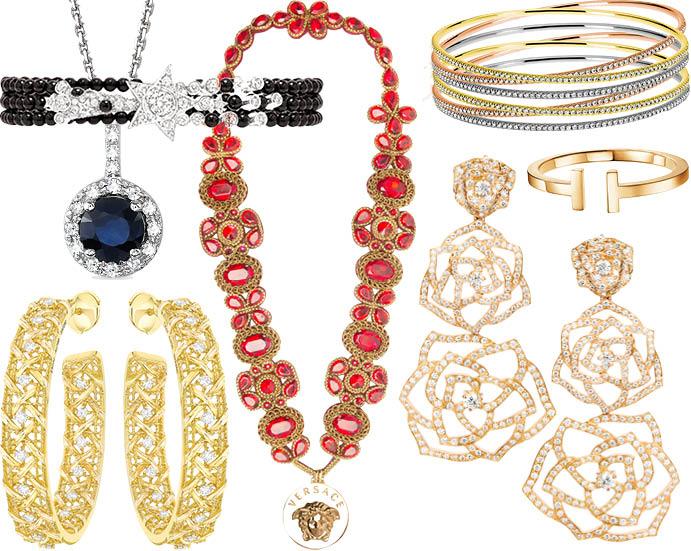 Браслет Chanel, подвеска Sunlight, колье Versace, браслет Sasha Primak, браслет Tiffany & Co, серьги Dior, серьги Piaget