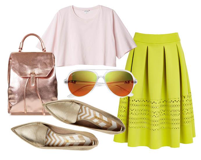 Выбор ELLE: топ Monki, юбка Asos, рюкзак TopShop, солнцезащитные очки Ray-Ban с чем носить лоферы
