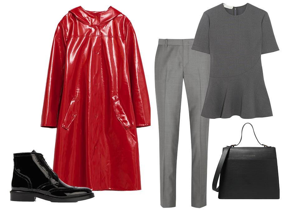 Выбор ELLE: топ Stella McCartney, брюки Joseph, ботинки Burberry, сумка Victoria Beckham