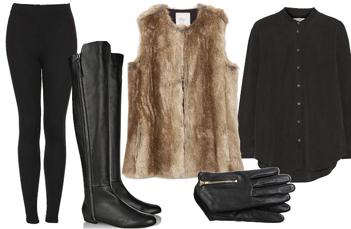 Выбор ELLE: высокие сапоги Giuseppe Zanotti, леггинсы TopShop, рубашка Equipment, перчатки Match