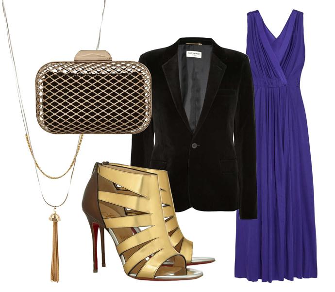 Выбор ELLE: платье Nina Ricci, босоножки Christian Louboutin, клатч Jimmy Choo, колье TopShop