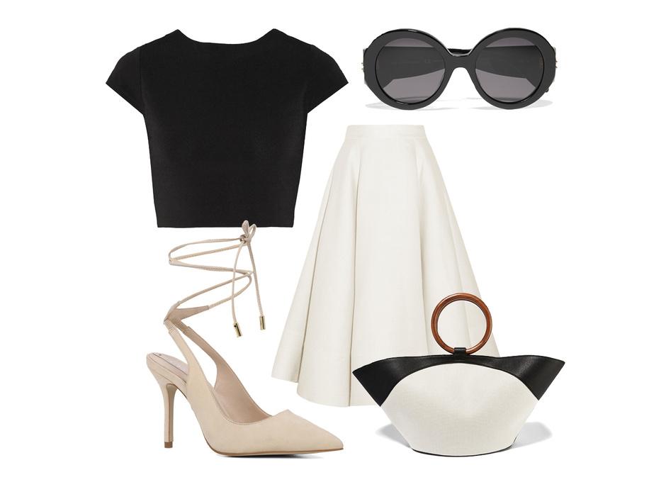 Выбор ELLE: юбка Roksanda, топ Alice+Olivia, сумка The Row, солнцезащитные очки Alexander McQueen