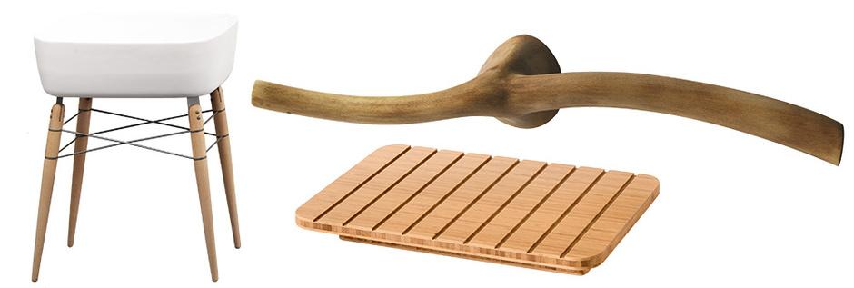1 Раковина Ray на деревянных ножках, дизайн Михаэля Хильгерса для Ex.T, www.ex-t.com 2 Поддон из бамбука, Lineabeta, www.lineabeta.it 3 Держатель для полотенец, Galassia, www.ceramicagalassia.com