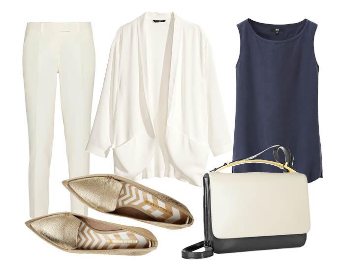 Выбор ELLE: брюки Fendi, блейзер H&M, блуза Uniqlo, сумка Marni с чем носить лоферы