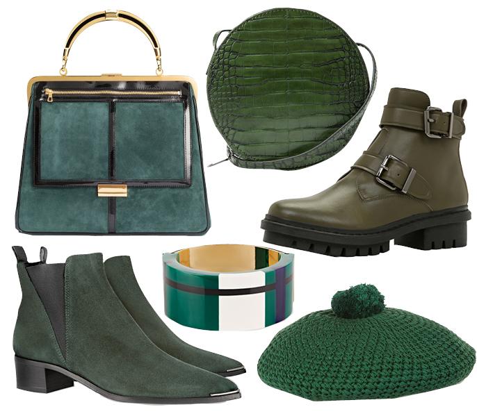 Выбор ELLE: сумка Balmain x H&M, круглый клатч Mango, браслет Marni, берет Gucci, ботильоны Acne Studios, ботинки Aldo