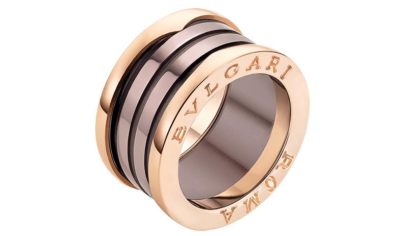 Кольцо B.zero1, розовое золото, керамика, Bulgari