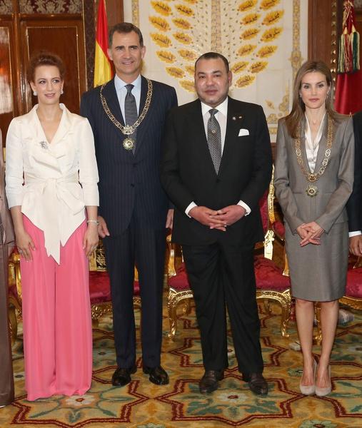 Принцесса Лалла Сальма, король Фелипе VI, король Мухаммед и королева Летисия