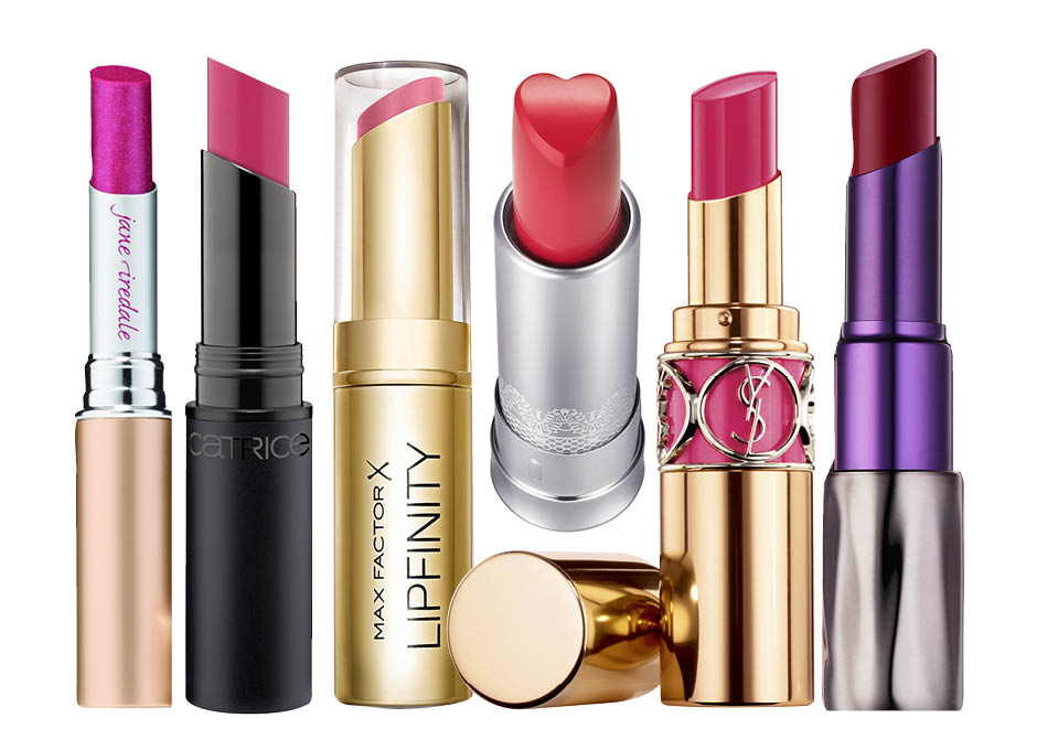 1. Jane Iredale Just Kissed Lip Plumper, 2. Catrice Ultimate Stay Lipstick, 3. Max Factor Lipfinity, 4. Holika Holika Heartfull Silky Lipstick, 5. YSL Rouge Volupte Shine, 6. Urban Decay Revolution