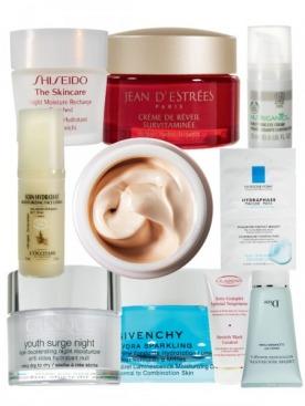ночной увлажняющий крем The Skincare, Shiseido; витаминизированный крем для лица Ultra Vitamin Wake Up Cream, Jean d'Estrées; смягчающий крем для век Nutriganics, The Body Shop; увлажняющий крем для лица с экстрактом оливы Soin Hydratant, L'Occitane; увлажняющий крем «Красивая кожа», Nivea Visage; увлажняющая маска для лица Hydraphase, La Roche-Posay; ночной увлажняющий крем Youth Surge Night, Clinique; увлажняющий крем для сияния кожи Hydra Sparkling, Givenchy; крем против растяжек Soin Complet Spécial Vergetures, Clarins; очищающий крем для лица Crème Moussante Nettoyante Magique, Dior