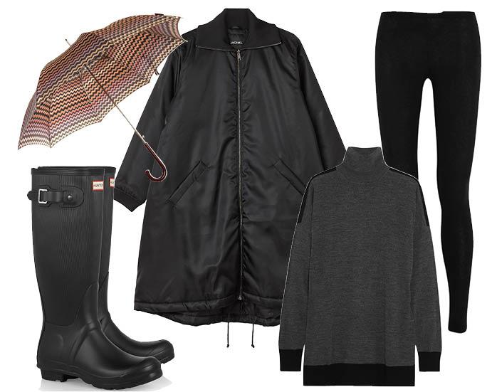 Выбор Elle: леггинсы Donna Karan, резиновые сапоги Hunter, водолазка Michael Michael Kors, зонт-трость Missoni