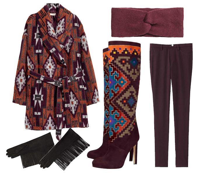 Выбор ELLE: леггинсы Uniqlo, сапоги Brian Atwood, повязка на голову H&M, перчатки Lanvin