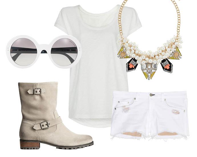 Выбор ELLE: шорты Rag&Bone, футболка Mango, ожерелье TopShop, солнцезащитные очки Ralph Lauren