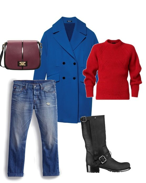 Пальто – DKNY; сумка – Furla; джинсы – Levi`s; свитер – Burberry; сапоги – Dior