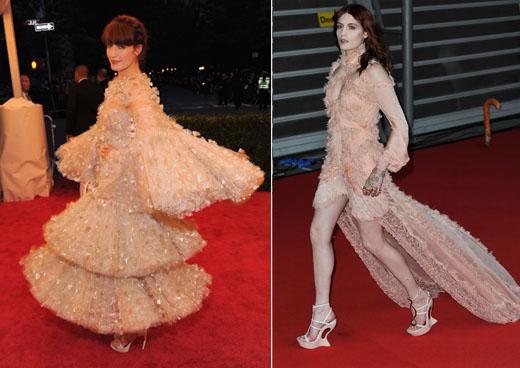 Флоренс в платьях Alexander McQueen