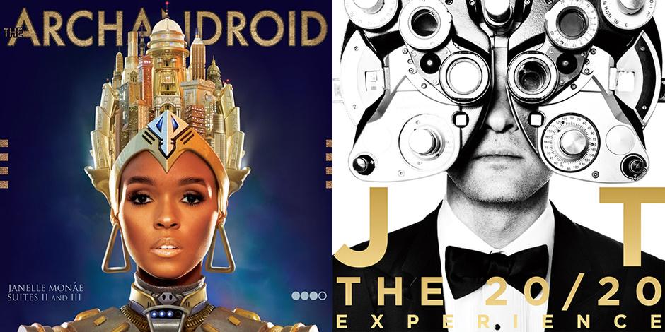 "Жанель Монэ ""The ArchAndroid (Suites II and III)"" 2010 и Джастин Тимберлейк ""20/20 Experience"" 2013"