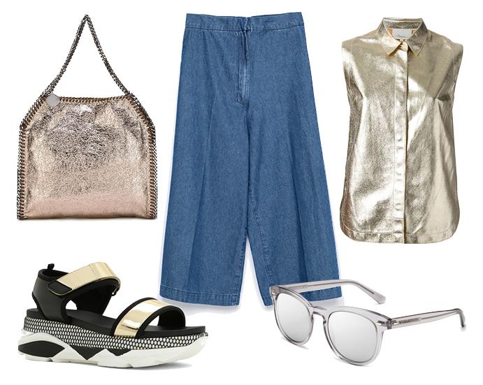 Выбор ELLE: топ 3.1 Philip Lim, сумка Stella McCartney, сандалии Aldo, солнцезащитные очки Dolce&Gabbana