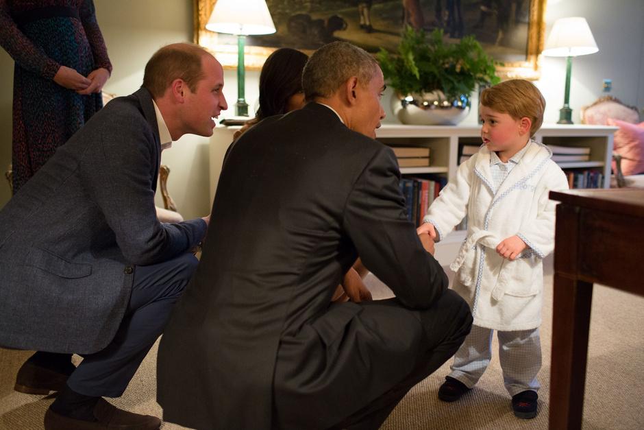 Фото дня: Принц Георг на встрече с Бараком Обамой