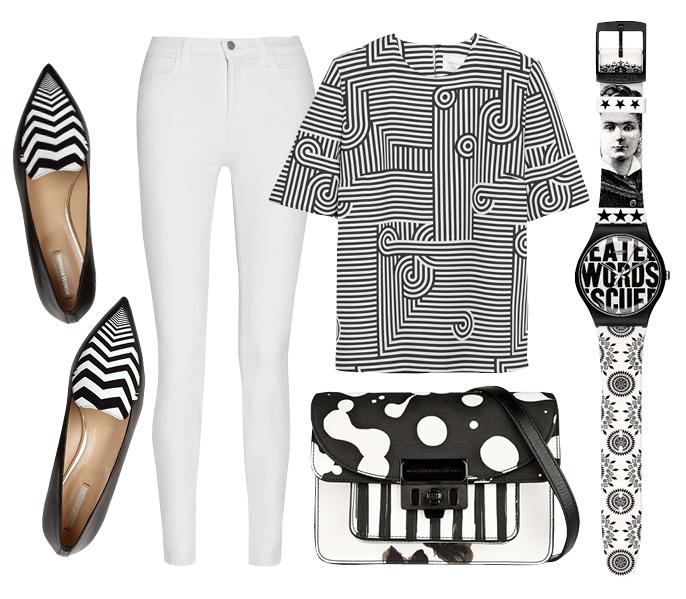 Выбор ELLE: топ Victoria by Victoria Beckham, туфли Nicholas Kirkwood, часы Swatch, сумка Marc by Marc Jacobs